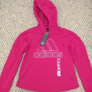 🆕 Adidas pink retro pullover hoodie- size small